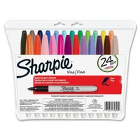 Sharpie Permanent Markers, Fine Point, Assorted Colors, 24-Count
