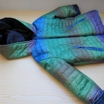 Hooded Winter Jacket in rainbow colors, Original Handmade Parka, Coat for Boys and Girls size US6, Windbreaker