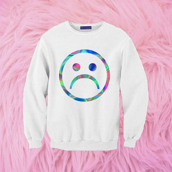 Sad Face Sweatshirt | Unisex S-XXL | Tumblr Cute Cool Kawaii Seapunk Girls Cyber Vaporwave *ON SALE*