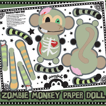 Zombie Monkey - DIY Paper Doll