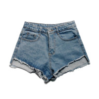 Asymmetrical Hem Denim Shorts