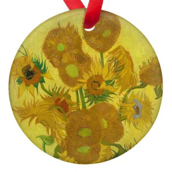 "Van Gogh Sunflowers 2.75"" Porcelain Ornaments"