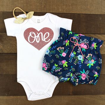 Rose Gold One Navy Floral Bloomers Outfit