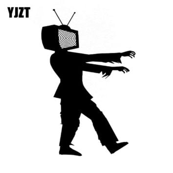 YJZT 9.5x15CM Funny ZOMBIE Walk Television Vinyl Decals Car-styling Car Sticker Black/Silver S8-1223