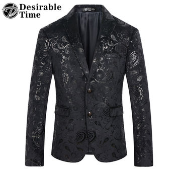 Men Black Sequin Blazer Jacket Slim Fit Fashion Party Stage Men Paisley Floral Velvet Blazer