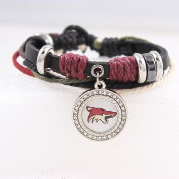 Black Genuine Leather Bracelet Men's Bangle Fashion Phoenix Coyotes Charm Jewelry For Women NHL Hockey Fans