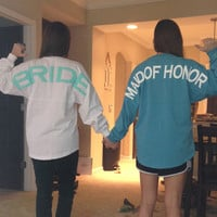 Maid of Honor Spirit Football Jersey with Circle Monogram