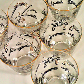 Libbey Mid Century Old Fashioned glasses with Gun motif, Revolvers, Rifles, Black Powder, Muskets, Vintage barware