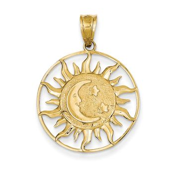 14k Yellow Gold 22mm Sun, Moon and Stars Circle Pendant