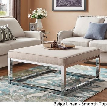 Solene Square Base Ottoman Coffee Table - Chrome by iNSPIRE Q Bold | Overstock.com Shopping - The Best Deals on Ottomans