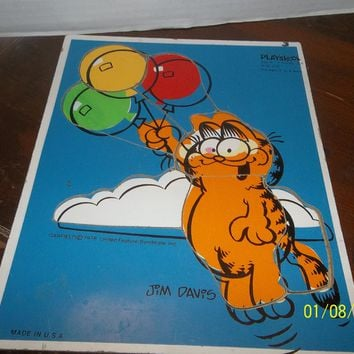 vintage playskool jim davis garfield with balloons wooden frame tray puzzle
