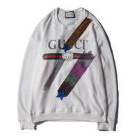 GUCCI 2018 autumn and winter new classic letter printing men and women sets of head casual sweater white
