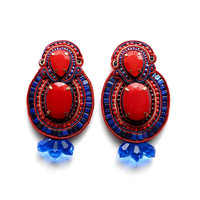 FIRE WATER #soutache #beaded #earrings in #blue and #red