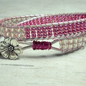 Breast Cancer Awareness Double Wrap Bracelet, Wrap Around, leather Wrap Bracelet, Adjustable Wrap Around