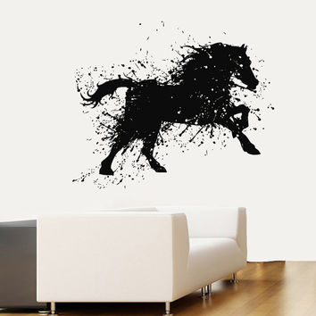 Wall Decals Horse Grunge Animals Home Vinyl Decal Sticker Kids Nursery Baby Room Decor kk236