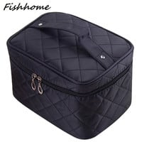 Cosmetic box 2017 new female Quilted professional cosmetic bag women's large capacity storage handbag travel toiletry makeup bag