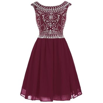 US Shipping Women's Chiffon Beading Homecoming Dress Short V-back Cocktail Dress