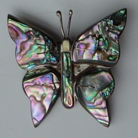 Sterling Silver Abalone Butterfly Pin, Vintage Mexican Silver with Eagle mark, 1950's Colorful Iridescent Shell Brooch
