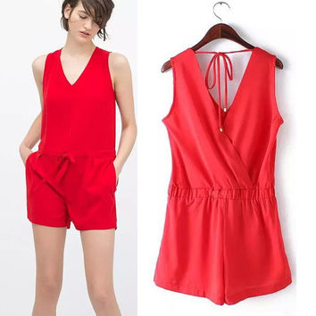 Summer Red Women's Fashion Sexy Backless Shorts Jumpsuit [4918901892]