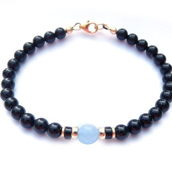 Gold Mens Aquamarine & Onyx Birthstone Bracelet, 14K GF March Gemstone Beaded Bracelet, Jewels for Gents