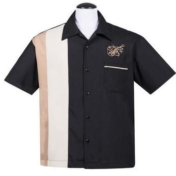 Steady Stay Tuned Guitar Button Up in Black Gold Men''s Shirt Retro