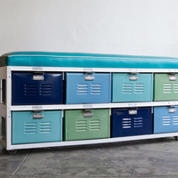 4 x 2 Reclaimed Locker Basket Unit with Padded Bench Seat