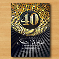 Gold Glitter birthday Invitation, Dancing party 16th 18th 20th 40 50 any age birthday Gold Glitter Disco ball Dance Birthday - card 354