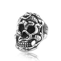 Punk Men's Titanium Badass Girls Skull Ring