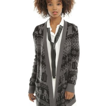 Licensed cool BBC DR Doctor Who Flyaway Open Front Cardigan Sweater Black & Grey JRS XS NWT
