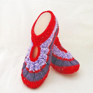 Knitted Socks / Slippers in Red, Red and Purple, Hand Knitted Women Winter Home Socks / Slippers, UK Seller