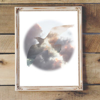 Bird and Clouds Photo Printable Cloud Photography Beach Decor Coastal Decor Modern Art Nursery Decor Instant Download 8x10 11x14