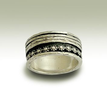 Sterling silver meditation band with floral and silver spinners - You'll be in my heart.