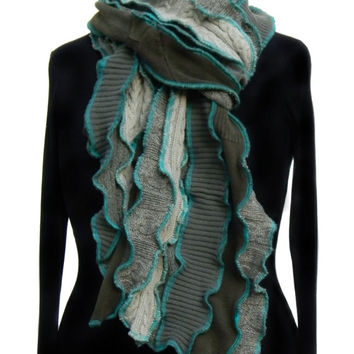 Scarf, Green with Teal Seams