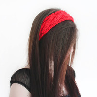 Red Knit Headband, Chunky Cable Knit Headwarmer, Knitted Head Band