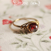 Gothic Red Garnet Ring, wire wrapped ring, wire wrapped jewelry handmade, unique rings, rustic ring, gothic ring