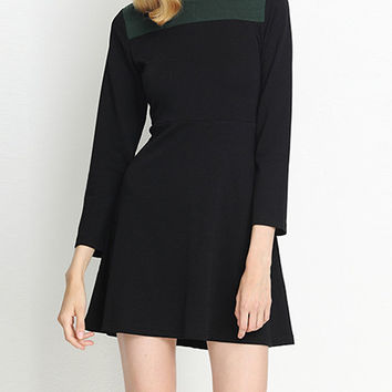 Color Block Long Sleeve A-Line Dress