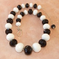 Black Onyx White Jade Chunky Handmade Necklace Sterling Jewelry Beaded