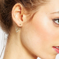 Unique Fashion Retro Metal Leaf Style  Earrings