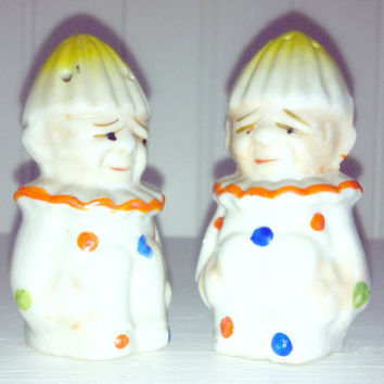 Vintage Clown Salt Pepper Shakers Porcelain by RestorationHarbor