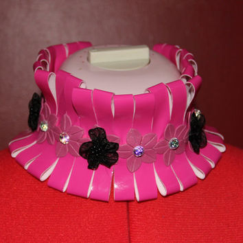 Adjustable Sliced Hot Pink PVC Vinyl Choker Collar with Pink Trim Black Flowers AB Jewels and Ribbon Ties