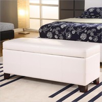 Modus Milano Bedroom Storage Bench in White Leatherette - MLA493F