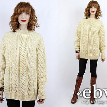 3562924ee28493 Vintage Cream Cable Knit Sweater Vintage Sweater Chunky Knit Chu