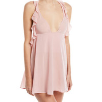 La Perla Elements Silk-Blend Ruffled Chemise