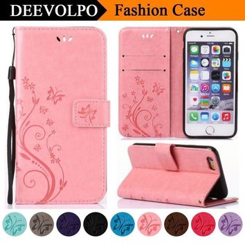 DEEVOLPO Luxury Wallet Case For Apple iPhone 8 7 6 6S Plus 5 5S SE Cover For ipod touch 6 Fundas Leather Soft Silicon Capa DP94