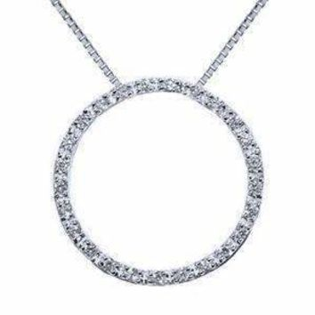 """1.00 Carat Diamond Sterling Silver Circle of Life Pendant Necklace 18"""""""""""