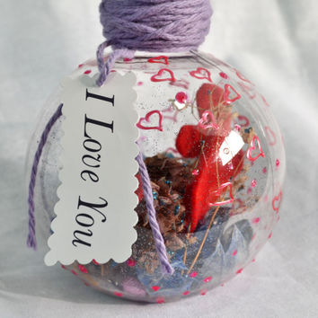 I love you message in a bottle Potpourri gift w/ felt heart and 3D puff paint
