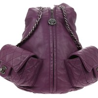 Chanel Purple Lambskin Large Backpack Is Back Bag | Chanel Consignment | Designer Vault