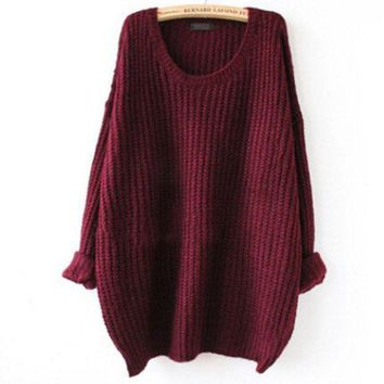 DCCKHQ6 Crew Neck Knit Sweater Loose Pullover Cardigan