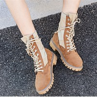 Women Sport Casual Fashion Retro Multicolor High Help Shoes Martin Boots