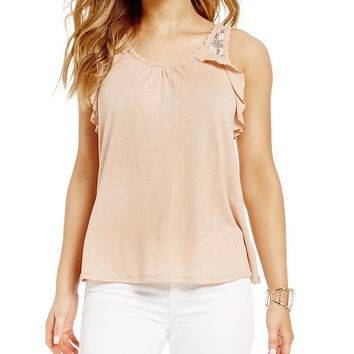 Love on a Hanger Embroidered Ruffle Tank Top | Dillards